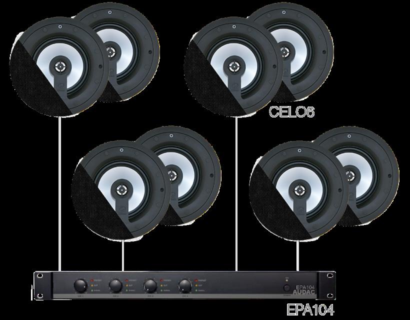 Audac 8 x CELO6 + EPA104 Black