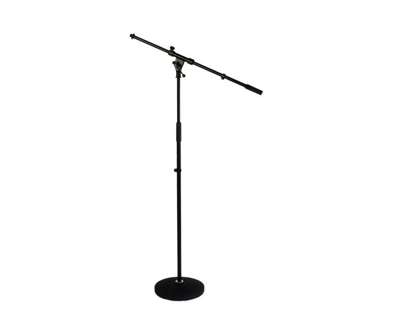 Caymon Microphone Stand+Boomarm-Black Cast Iron Round Base