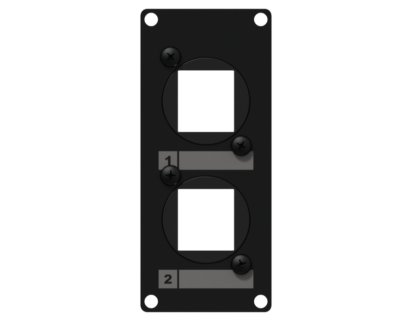 Caymon Casy 1 Space Cover Plate - 2 X Keystone Adapter - Black