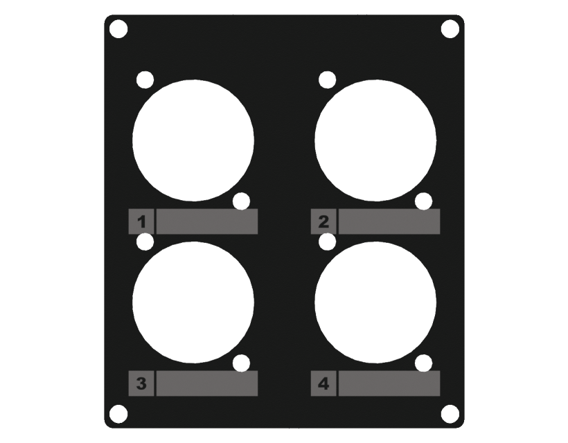 Caymon Casy 2 Space Cover Plate - 4 X D-Size Holes - Black
