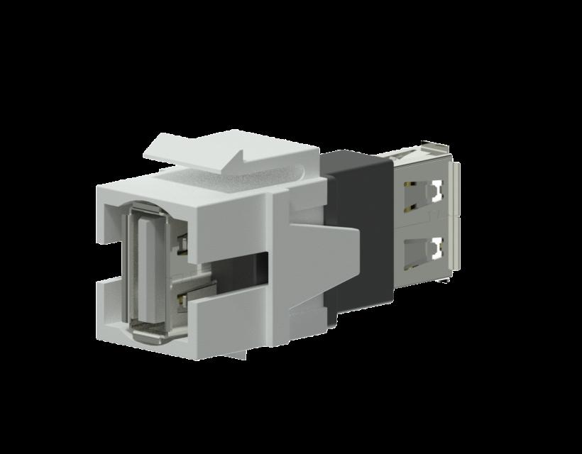 Procab Keystone adapter - USB 2.0 A - USB 2.0 A White