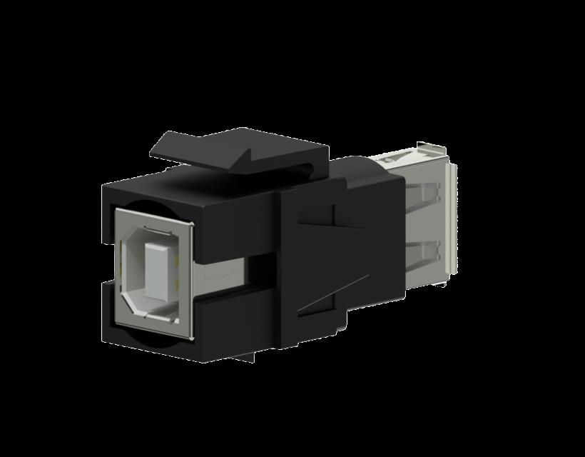 Procab Keystone adapter - USB 2.0 A - USB 2.0 B - reversible Black
