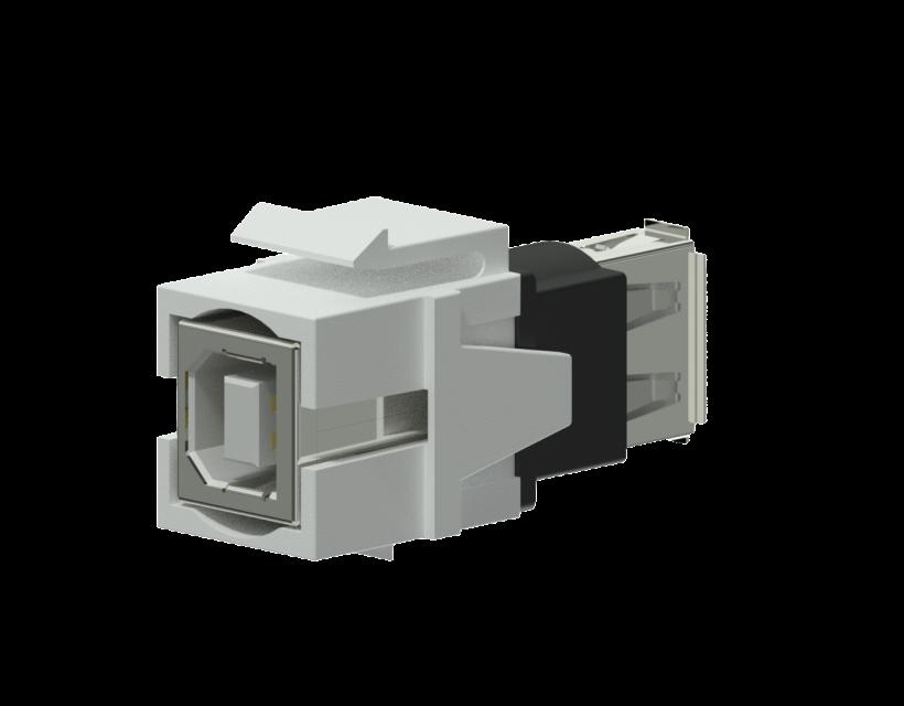Procab Keystone adapter - USB 2.0 A - USB 2.0 B - reversible White